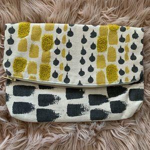 Fun, Roomy Grey / Yellow Fabric Zip Clutch